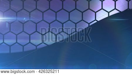 Image of glowing network of connections with hexagon shapes. global online network technology connection communication concept digitally generated image.