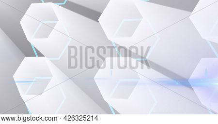 Image of glowing network of 3d white hexagon shapes. global online network technology connection communication concept digitally generated image.