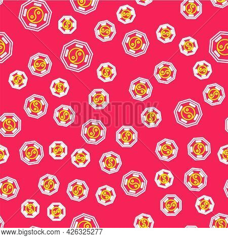 Line Yin Yang Symbol Of Harmony And Balance Icon Isolated Seamless Pattern On Red Background. Vector