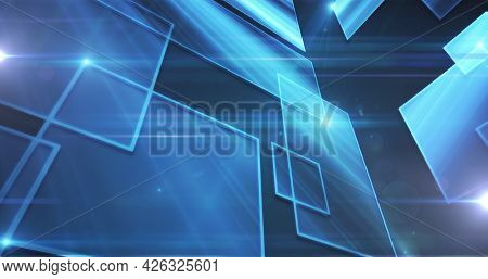 Image of digital network of connections with blue glowing squares. global technology connection communication concept digitally generated image.