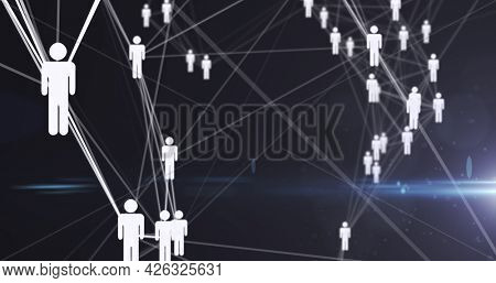 Image of digital network of connections with white people icons. global technology connection communication concept digitally generated image.