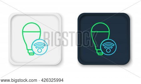 Line Smart Light Bulb System Icon Isolated On White Background. Energy And Idea Symbol. Internet Of