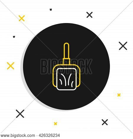 Line Dustpan Icon Isolated On White Background. Cleaning Scoop Services. Colorful Outline Concept. V