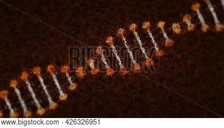 Image of distorted digital 3d orange and white double helix DNA strand spinning on brown background. Medicine science genetics concept digitally generated image.