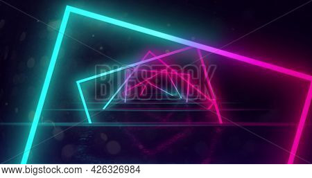 Image of glowing neon turquoise and pink square outlines moving and turning in hypnotic motion in repetition on black background. Neon kaleidoscopic motion concept digitally generated image. 4k