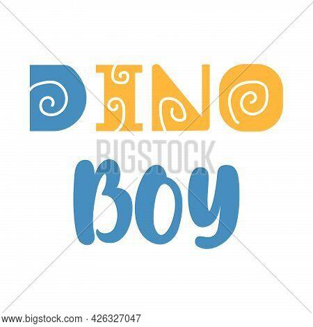 Cartoon Dino Boy T-shirt Print. Vector Illustration.