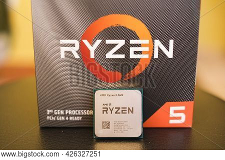 Rome, Italy - July 9 2021: Amd Ryzen 3600 Desktop Pc Cpu With Selling Box Package, Computer Componen