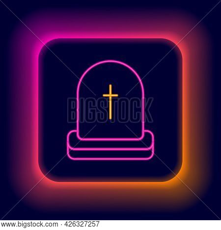 Glowing Neon Line Tombstone With Rip Written On It Icon Isolated On Black Background. Grave Icon. Ha
