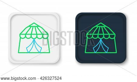 Line Circus Tent Icon Isolated On White Background. Carnival Camping Tent. Amusement Park. Colorful