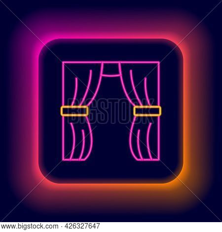 Glowing Neon Line Circus Curtain Raises Icon Isolated On Black Background. For Theater Or Opera Scen