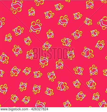 Line Bar Of Soap Icon Isolated Seamless Pattern On Red Background. Soap Bar With Bubbles. Vector