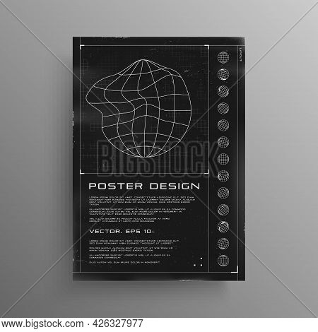 Retrofuturistic Poster With Hud Elements. Black And White Poster Design In Cyberpunk Style With Wire
