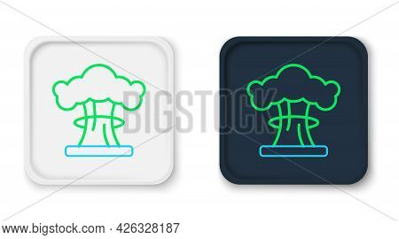Line Nuclear Explosion Icon Isolated On White Background. Atomic Bomb. Symbol Of Nuclear War, End Of