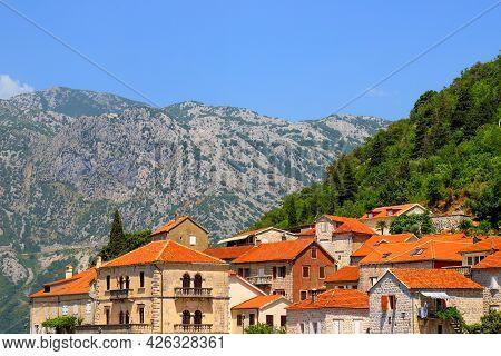 Old Historic Buildings In Perast, Montenegro. A Beautiful Resort Town In Kotor Bay In Summer Near Hi