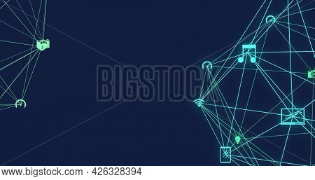 Image of network of connections with digital icons forming two globes rotating on blue background. Digital interface global computer network concept digitally generated image.