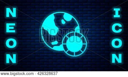 Glowing Neon Casino Chips Icon Isolated On Brick Wall Background. Casino Gambling. Vector