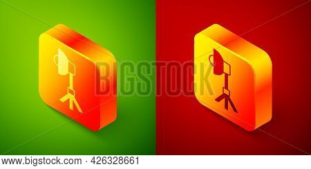 Isometric Studio Light Bulb In Softbox Icon Isolated On Green And Red Background. Shadow Reflection