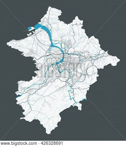 Taipei Map. Detailed Map Of Taipei City Administrative Area. Cityscape Panorama. Royalty Free Vector