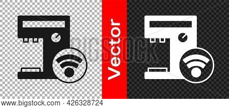 Black Smart Coffee Machine System Icon Isolated On Transparent Background. Internet Of Things Concep