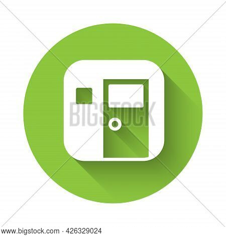 White School Classroom Icon Isolated With Long Shadow. Back To School Concept. Green Circle Button.