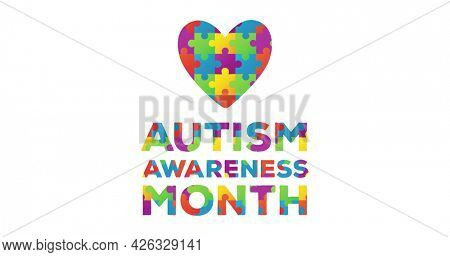 Image of multi coloured puzzle elements forming heart words Autism Awareness Month on white background. Autism awareness support concept digitally generated image.