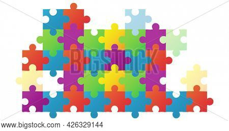 Image of multi coloured puzzle elements forming rectangle symbol of Autism Awareness Month on white background. Autism awareness support concept digitally generated image.