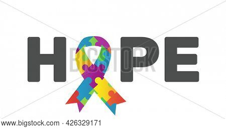 Image of multi coloured puzzle elements forming ribbon symbol of Autism Awareness Month and word Hope on white background. Autism awareness support concept digitally generated image.