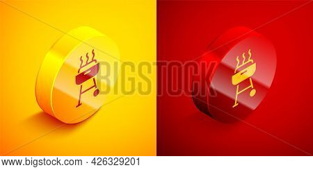 Isometric Barbecue Grill Icon Isolated On Orange And Red Background. Bbq Grill Party. Circle Button.
