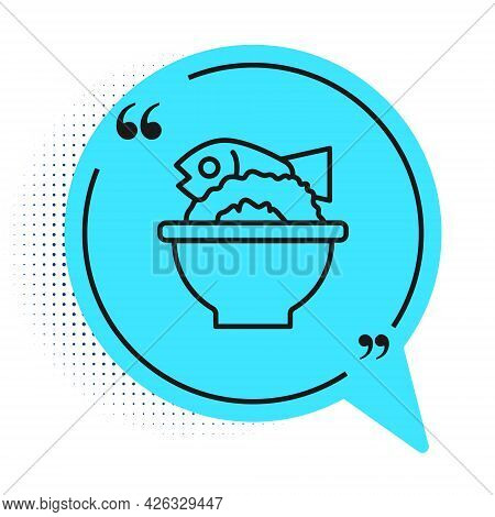 Black Line Served Fish On A Bowl Icon Isolated On White Background. Blue Speech Bubble Symbol. Vecto