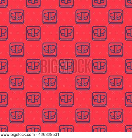 Blue Line Sushi On Cutting Board Icon Isolated Seamless Pattern On Red Background. Asian Food Sushi