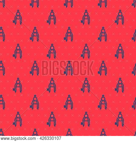 Blue Line Drawing Compass Icon Isolated Seamless Pattern On Red Background. Compasses Sign. Drawing