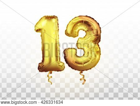 Vector Golden Number 13 Thirteen Made Of Inflatable Balloon Isolated On White Background Art. Celebr