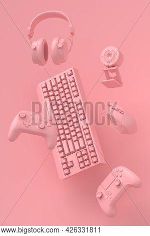 Flying Gamer Monochrome Gears Like Mouse, Keyboard, Joystick, Headset, Vr Headset. Web Camera On Pin