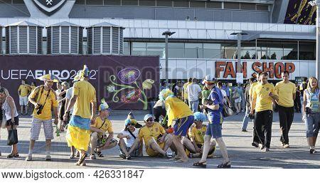 Donetsk, Ukraine - June 19, 2012: Ukrainian Fans Before The Match Euro 2012 Ukraine Vs. England In D