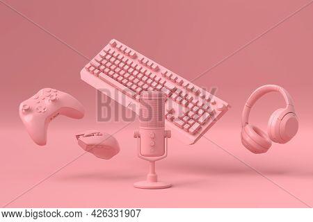 Flying Gamer Monochrome Gears Like Mouse, Keyboard, Joystick, Headset, Vr Headset. Microphone On Pin