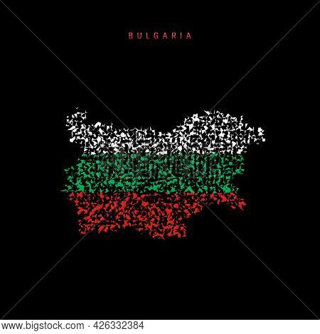 Bulgaria Flag Map, Chaotic Particles Pattern In The Colors Of The Bulgarian Flag. Vector Illustratio