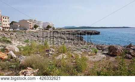 Dit Is Een Foto Van Een Stukje Van De Zee En Rotsen In Mallorca
