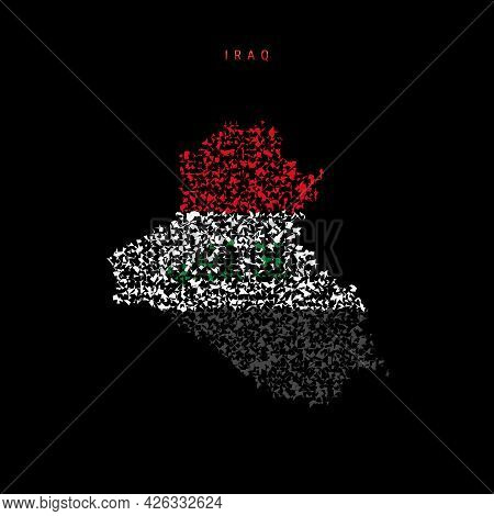 Iraq Flag Map, Chaotic Particles Pattern In The Colors Of The Iraqi Flag. Vector Illustration Isolat