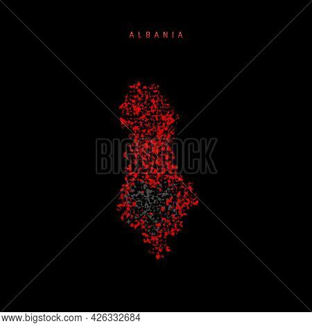 Albania Flag Map, Chaotic Particles Pattern In The Colors Of The Albanian Flag. Vector Illustration
