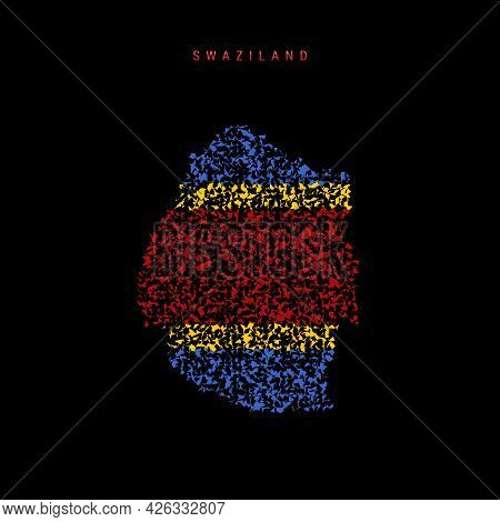 Swaziland Flag Map, Chaotic Particles Pattern In The Colors Of The Eswatini Flag. Vector Illustratio