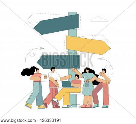 Choice. People Stand At The Road Sign And Choose The Direction. Vector Illustration Isolated On Whit