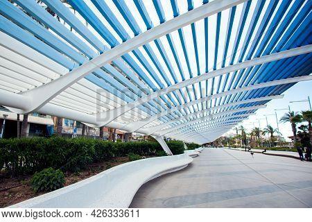Torrevieja, Spain, 27.04.2021. Promenade Of Torrevieja, Touristic Centre, Costa Blanca