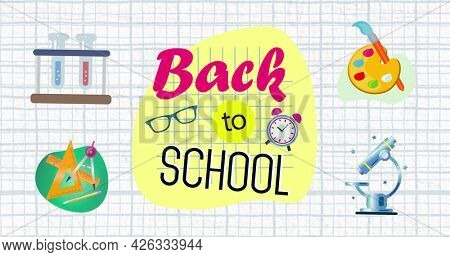 Image of Back to School text with glasses and alarm clock on yellow shape and school icons on white squared paper. Education back to school and learning concept digitally generated image.