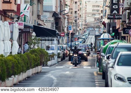 Torrevieja, Spain, 02.05.2021. Street Of Torrevieja City With Traffic. Cityscape. Costa Blanca