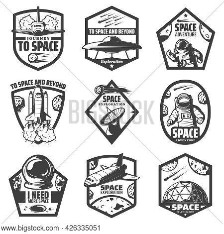 Vintage Monochrome Space Labels Set With Spaceships Ufo Astronauts Rocket Antenna Helmet Scientific