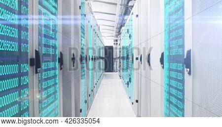 Image of fingerprint scanning and digital information flowing through network of computer servers in server room. Global network of internet service provider or data processing centre concept.