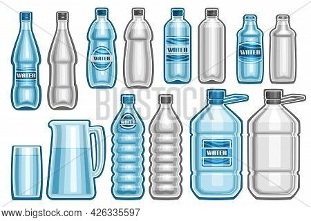Vector Set Of Water Bottles, Lot Collection Of Cut Out Illustrations Assorted Plastic And Glass Bott