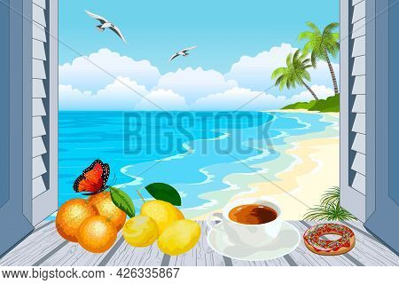 Illustration With A Seascape In An Open Window.tropical Landscape With Sea And Palm Trees In An Open