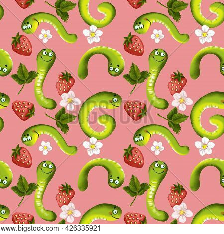 Seamless Pattern Of Caterpillars And Strawberries, A Bright Color Illustration Drawn By Hand In A Ca