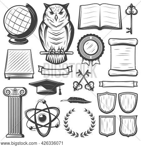 Vintage University And Academy Elements Set With Educational Objects And Symbols In Monochrome Style